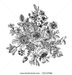 Floral card. Bouquet of roses, lily and anemone. Vintage vector illustration. Classic. Black and white.