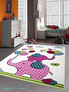 Cute Kinderteppich Spielteppich Kinderzimmer Teppich Elefanten Design Creme Rosa Pink Gr n T rkis Schwarz Gr e cm Quadrat