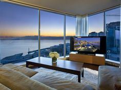 this apartment on 2nd Avenue in Seattle Washington has a crazy view, and is designed beautifully.