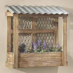 Chicken Wire Shelf Wall Accents – Chicken coop-inspired hanging wall shelf mixes farmhouse and rustic elements for a unique storage solution. Come Home to Comfortable Living Through the Country Door! Garden Crafts, Garden Projects, Garden Art, Wood Projects, Modern Shelving, Wire Shelving, Rustic Decor, Farmhouse Decor, Target Farmhouse