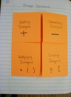 Integers Foldable. I'm a huge lover of foldables, they are notes the kids ENJOY taking and can actually USE!! What's not to love!?