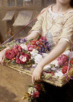 Augustus Edwin Mulready 'A street flower seller' (detail) 1882.
