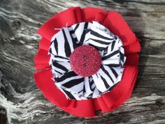 Handmade red black and white zebra flower by RockabillyBabyPlace, $6.00