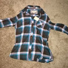 Flannel Soft button flannel Tops Button Down Shirts