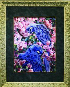 попугаи картина вышивка шелком