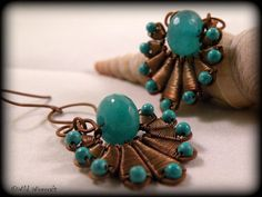 Turquoise Blue Wire Wrapped Earrings/Copper by WildWirecraft