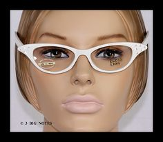 White cateye glasses Ebay