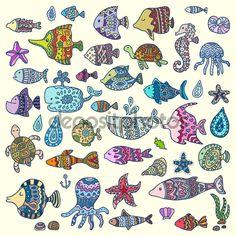 Фотообои Коллекция морских животных, векторные иллюстрации