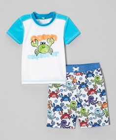 Look at this #zulilyfind! Blue 'Ocean Explorer' Rashguard & Swim Trunks - Infant & Toddler by Baby Buns #zulilyfinds