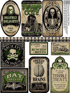 Labels mod podge halloween craft