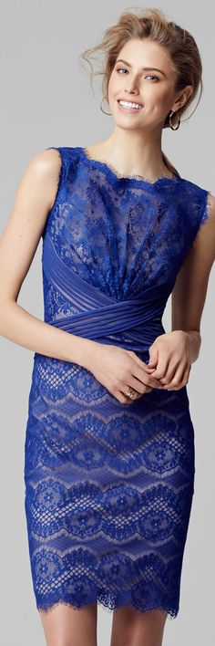 Tadashi Shoji. Blue dress Lace dress. Sheath dress. Beautiful flattering sheath dress.