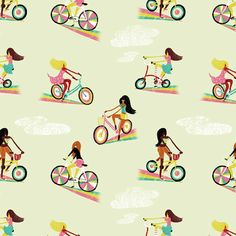 Pattern by Migy (via Where the Lovely Things Are) #Migy #bikes #rainbow