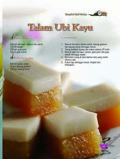 Talam ubikayu Indonesian Desserts, Asian Desserts, Indonesian Food, Indonesian Recipes, Savory Snacks, Snack Recipes, Dessert Recipes, Cooking Recipes, Malaysian Dessert