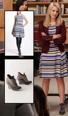 Quinn's blue striped dress with burgundy blazer and oxford wedges on Glee - Dress from Anthropologie, Blue Dress Outfits, Baby Blue Dresses, Girly Outfits, Nice Dresses, Fall Outfits, Cute Outfits, Beautiful Outfits, Quinn Fabray, Zooey Deschanel