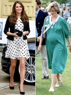 Polka dots were definitely all the rage in the '80s, and Diana wore hers on another airy dress while expecting William. Kate's modern take on the pattern, an affordable Topshop number (worn to England's Warner Bros. studios on April 26), sold out of stores in mere hours.