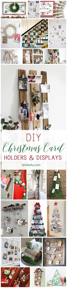 Make a DIY Christmas card holder to display your loved ones' Christmas cards you receive! So many darling ideas and styles to choose from!