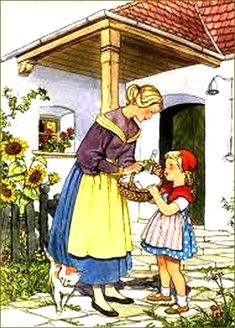 Little Red Riding Hood Felicitas Kuhn-Klapschy Austrian) Fairy Tale Crafts, Red Ridding Hood, Grimm Fairy Tales, Fairytale Art, Red Hood, Children's Book Illustration, Food Illustrations, Little Red, Art History
