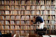 """The one problem with having so many records is, how do you keep them filed? I have a system based on genres, countries, and other criteria."" —Claas Brieler in Berlin, Germany"