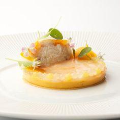 Carpaccio van langoustinestaartjes met pompoencremeux en citrus - Gastronomixs