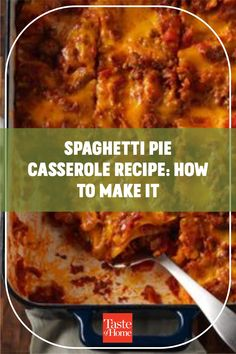 My family adores this spaghetti casserole. It's old-timey comfort food. This is how to make baked spaghetti with cream cheese. —Patricia Lavell, Islamorada, Florida Spaghetti Pie, Spaghetti Casserole, Baked Spaghetti, Spaghetti Recipes, Islamorada Florida, Sour Cream Sauce, Pan Sizes, Star Food, H & M Home