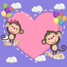 Valentine card with Lovers Monkeys flying on balloons Cartoon Monkey, Cute Cartoon, Monkey Drawing, Photo Frame Design, Jungle Animals, Birthday Images, Love Cards, Baby Quilts, Art Images