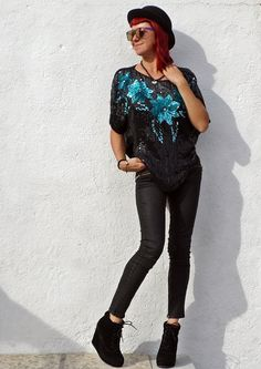 Vintage 80s Black Sequin Blouse Beaded Top Turquoise by tomacrafts