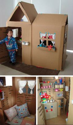 Cardboard house. Cheap and cute!