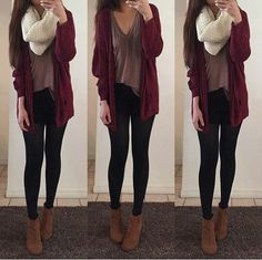 Oversize v neck tshirt, cardigan, leggings and ankle boots. Easy fall outfit