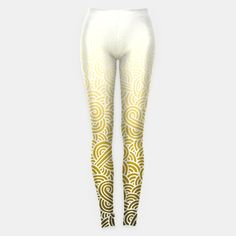 """""""Ombre yellow and white swirls zentangle"""" Leggings by @savousepate on Live Heroes #leggings #leggins #pants #fashion #clothing #apparel #drawing #pattern #zentangles #doodles #abstract #white #goldenrod #ombre #gradient"""