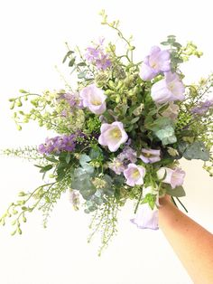 Textured bouquet/ purples/creams/greens/meadow