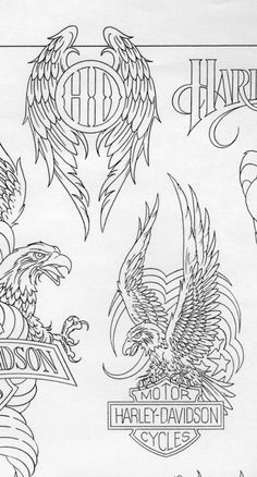 American Eagle Harley Davidson Tattoo with Blueprint American Eagle Wings Harley Davidson Blueprint Biker themed Tattoo Inspiratitions. Old school vintage styled biker tattoos Harley Davidson Logo, Harley Davidson Kunst, Harley Davidson Tattoos, Harley Davidson Motorcycles, Harley Tattoos, Biker Tattoos, Doodles Zentangles, Adventure Tattoo, Adventure Symbol