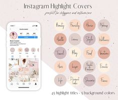 Instagram highlight covers perfect for bloggers and influencers! Create a pretty and cohesive looking Instagram profile. - Blush Created