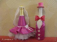 Декор предметов Мастер-класс Свадьба Шитьё Костюм на бутылку = Жених = Бумага Ленты Пуговицы Ткань фото 1