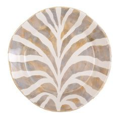 """VIETRI SAFARI Dinner Plate by VIETRI. $46.00. Dimensions: 11""""D. Brand New - First Quality. Inspired by exotic animal prints found on the fashion runways of Milan, the Safari dinner plate will add a stylish touch to any table! The combination of creams, grays and golden tones mix beautifully with the Lastra gray collection, making this print really pop! Handmade of terra bianca in Tuscany. Dishwasher safe."""