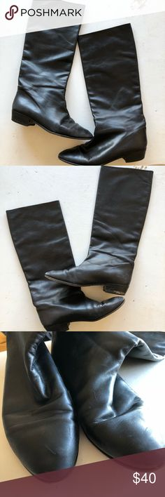 Anne Klein genuine leather tall boots Anne Klein genuine leather boots. Good gently worn condition , easy slip-on style,  Very small stacked heel. Size 8 Anne Klein Shoes