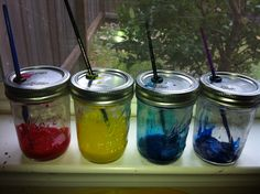Painting without a mess! I put each color with it's own paintbrush inside a mason jar. The paintbrush fits perfectly inside a little hole in the lid. (my sister used a Stampin'up punch) Now, my kids don't need water to switch colors while painting. :) The lid always stays on so the paint doesn't dry out. They can paint anytime now!
