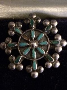 Vintage Zuni Native American Ring Turquoise Sterling Silver Size 6.5.