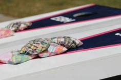 madras corn hole (or various fabrics that match the wedding colors)