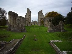 Ruins of the Great Church of Glastonbury Abbey, built 1184-1250