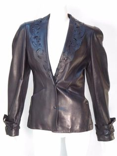 Thierry Mugler Paris Vintage Black Leather Jacket * #ThierryMugler #BasicJacket
