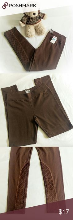 🆕⭐NWT Chocolate Suede Leggings Brand new with tags - girls' chocolate brown leggings with adorable faux suede quilted patches on the bottom of the legs. Perfect for Fall or back to school! Justice Bottoms Leggings