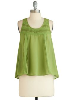 Green Lace Trim Blouse