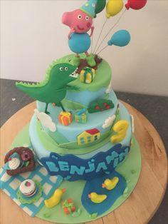 George pig cake, me dinosaur , second birthday