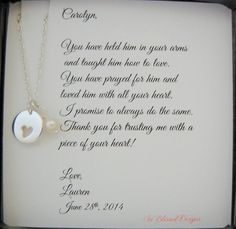 Mother of the Groom, Mother of Bride gift, Mother in Law POEM, Heart cutout necklace, Sterling Silver charm, Wedding jewelry, mother in law