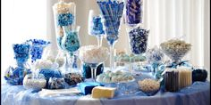 Candy bar, for vow renewal party! Do the candy in clear jars and dishes and candy in your colors!