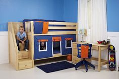 Tips and inspiration on decorating kids rooms. Includes images of stylish room ideas from famous kids' room designers from around the world. Bunk Beds Boys, Kid Beds, Modern Beds And Headboards, Cool Loft Beds, Boys Curtains, Bedroom Built Ins, Bunk Bed Designs, Kids Room Design, Cozy Bed