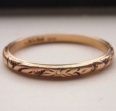 Vintage Solid 15K Rose Gold Wedding Band. Works beautifully with an Engagement Ring, stacked with other bands or elegantly worn by itself.