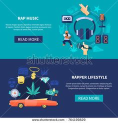 Stock Vector: Set of horizontal banners including flat round compositions with rap music and rapper lifestyle isolated vector illustration