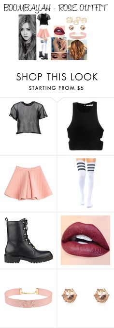 """""""Boombayah - ROSE OUTFIT"""" by joeannamarii on Polyvore featuring MM6 Maison Margiela, T By Alexander Wang, Marina Hoermanseder, GUESS, Johnny Loves Rosie and River Island"""