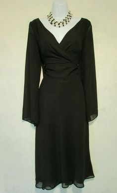 Sz 10 Liz Claiborne Black Dress with Sheer Overlay | eBay